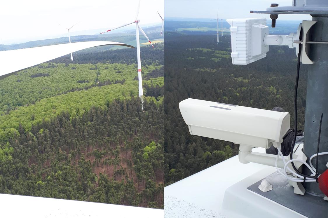 Beim Forschungsprojekt PiB wurde ein Kamerasystem auf einem Maschinenhaus implementiert, um das hier installierte Eiserkennungssystem BladeControl verifizieren zu können.